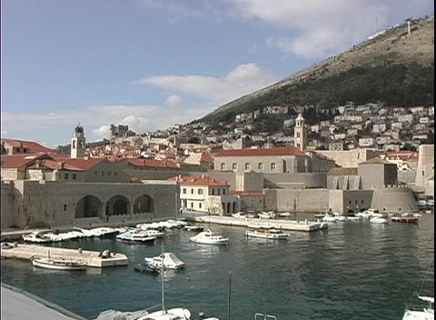 A medium-shot of a beautiful harbor at Dubrovnik, Croatia Footage