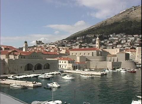 A medium-shot of a beautiful harbor at Dubrovnik, Croatia Stock Video Footage