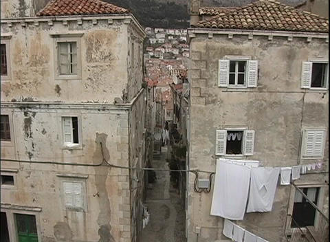 A birds-eye view of laundry hanging out to dry from... Stock Video Footage