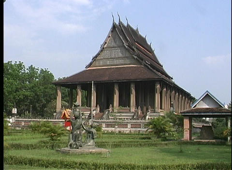A medium shot of a Buddhist temple in Vientiane, Laos Stock Video Footage