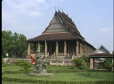 A medium shot of a Buddhist temple in Vientiane, Laos Footage