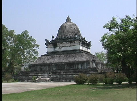 A medium shot of an ancient Buddhist temple in Asia Stock Video Footage