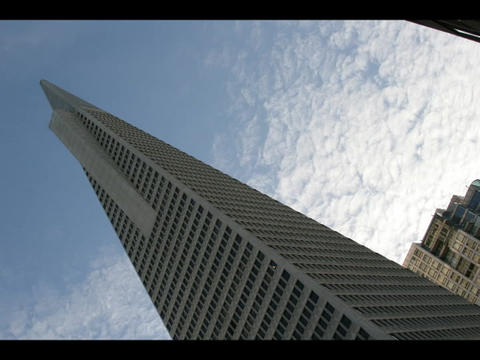 Time-lapse of clouds passing above the TransAmerica... Stock Video Footage