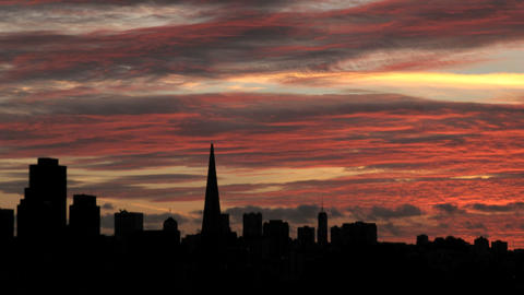 A colorful sky fades to darkness over the San Francisco... Stock Video Footage