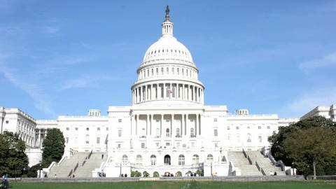 Visitors and legislators walk into and out of the United... Stock Video Footage