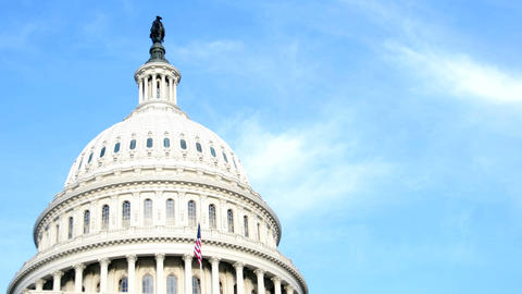 The white dome of the United States Capitol Building... Stock Video Footage