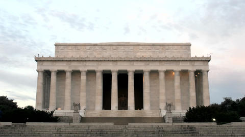 A steady trickle of tourists visits the Lincoln Memorial... Stock Video Footage
