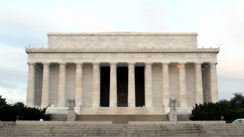A steady trickle of tourists visits the Lincoln Memorial in Washington, DC Footage