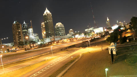 Lights brighten in downtown Atlanta, Georgia and its... Stock Video Footage