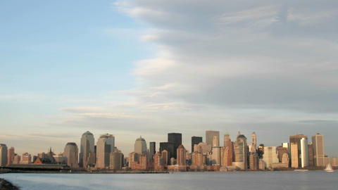 A large cloud bank gathers above the New York City skyline Stock Video Footage