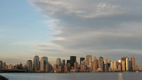 A large cloud bank gathers above the New York City skyline Footage