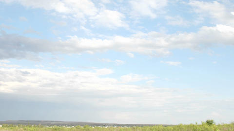 White clouds pass over the Texas plains Stock Video Footage