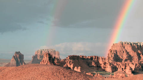 Slow right pan of a double rainbow fading until only one... Stock Video Footage