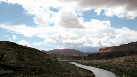 Time-lapse shot of clouds passing over the Colorado River... Stock Video Footage