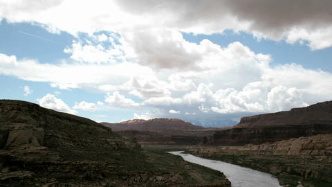 Time-lapse shot of clouds passing over the Colorado River in Glen Canyon National Recreation Area Footage