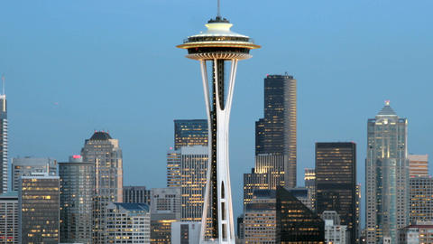 Slow left-pan of the Seattle Space Needle and the... Stock Video Footage