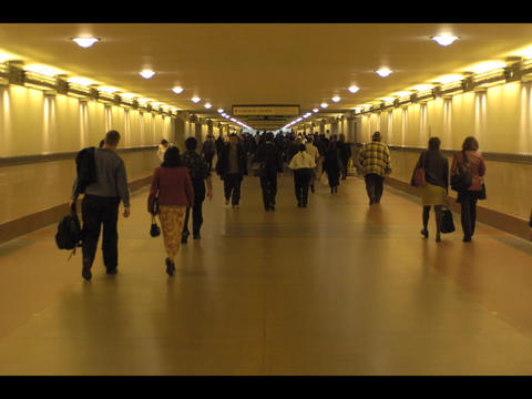 An accelerated medium shot of a multitude of people... Stock Video Footage