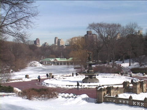The Angel of the Waters Fountain stands in Central Park... Stock Video Footage