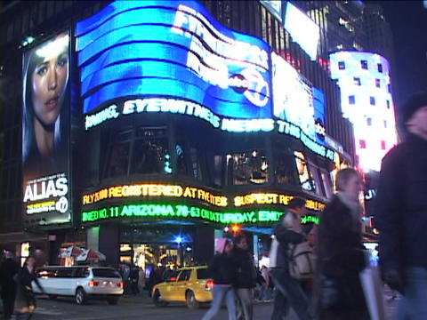 Neon Lights Light Up Times Square, New York At Night stock footage