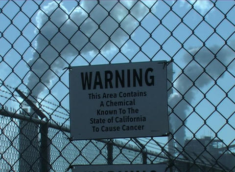 Warning signs indicate that cancer causing agents are... Stock Video Footage
