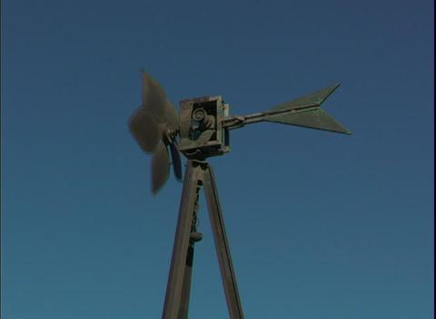 A windmill spins Footage