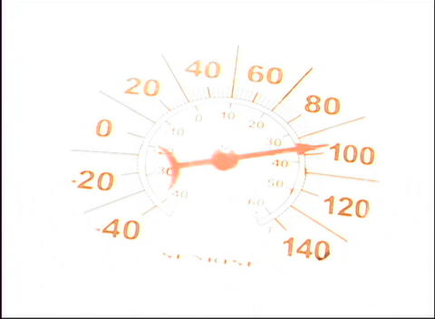 The needle on a thermometer points to around 98 degrees Footage