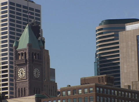 Contrast of old and new in downtown Minneapolis, Minnesota Stock Video Footage