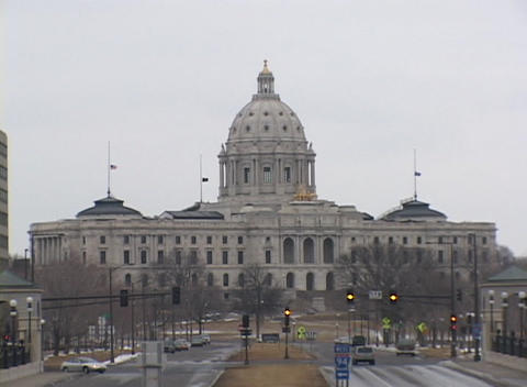 A look at the Minnesota State Capitol Building on a cloudy day Footage