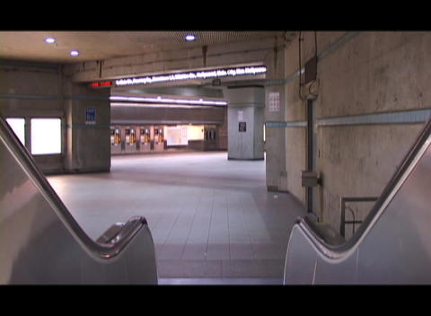 An escalator moves downward Stock Video Footage