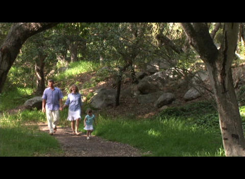 Medium shot of a family walking through a forest Footage
