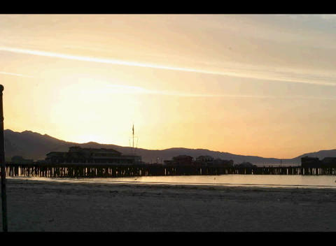 The beach glows with the early morning sun Stock Video Footage