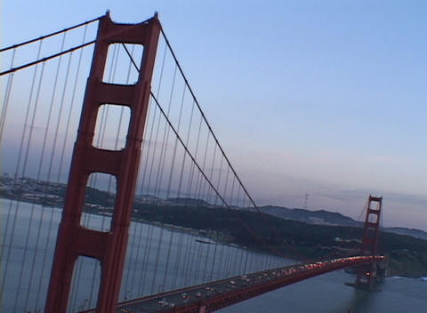Medium shot of heavy traffic on the Golden Gate Bridge Stock Video Footage
