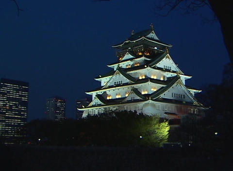 Up lighting at night gives this five-story Japanese temple a special elegance and grandeur Footage