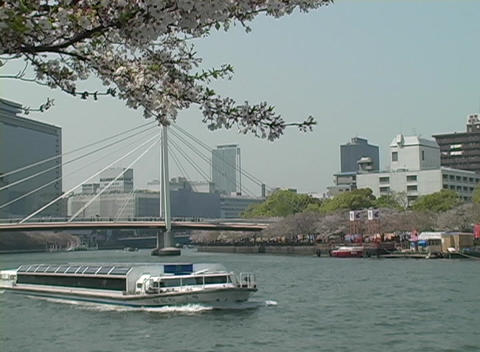 Medium shot of a sightseeing boat traveling along a river... Stock Video Footage