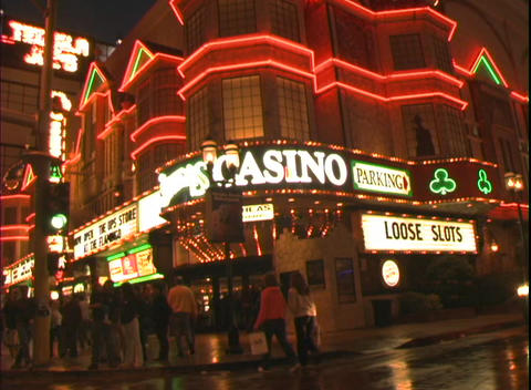 Tracking shot showing the facade of O'Shea's Casino in... Stock Video Footage