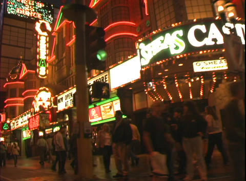 Tracking shot showing the facade of O'Shea's Casino in Las Vegas Footage
