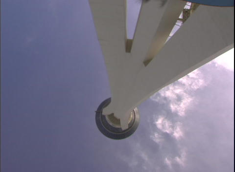 Upward angle tracking shot of the Stratosphere Hotel and... Stock Video Footage