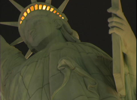 Upward close-up of the Statue of Liberty in front of the... Stock Video Footage
