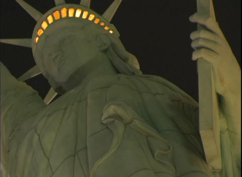 Upward close-up of the Statue of Liberty in front of the New York, New York Hotel and Casino in Las Footage