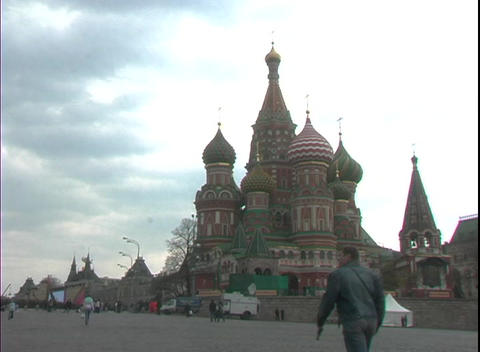 St. Basil's Basilica occupies Red Square in Moscow, Russia Footage