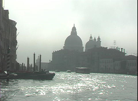 A water-taxi floats down the Grand Canal towards St.... Stock Video Footage