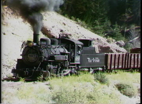 Following shot of a Rio Grande steam engine pulling a... Stock Video Footage