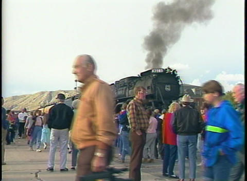 Medium shot of a crowd of rail buffs standing in front of... Stock Video Footage