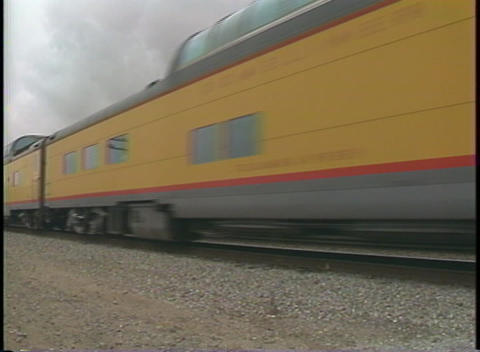 Pan-right shot of a vintage Southern Pacific passenger... Stock Video Footage