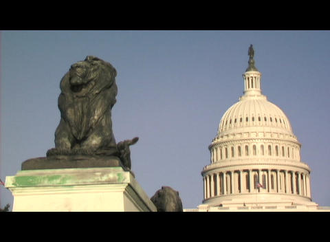 Medium shot of a lion statue in front of the United States Capitol building in Washington, DC Footage