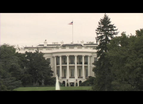 The exterior of the White House in Washington, DC seen from the front lawn Footage