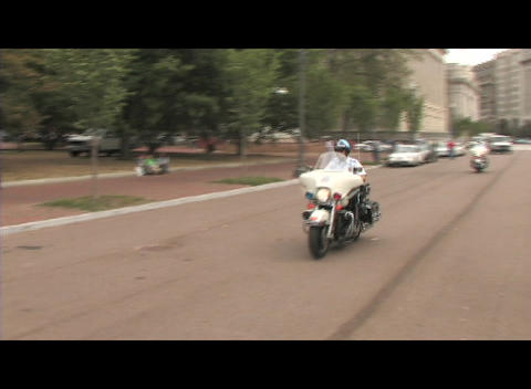 Following shot of motorcycle police-officers traveling... Stock Video Footage