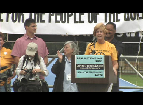 Medium-shot of Cindy Sheehan speaking at an anti-Iraq-war rally in Washington, DC Footage