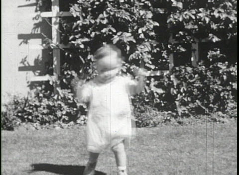 A home movie of a baby walking for the first time... Stock Video Footage