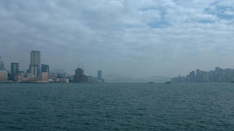 Hong Kong Cityscape from across Victoria Harbor. UltraHD footage Live Action